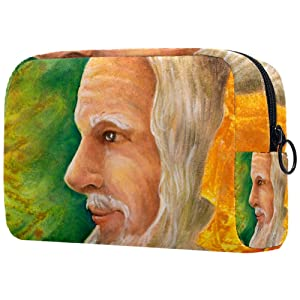 LEVEIS Wise Senior Druid Portrait Small Makeup Bag Pouch for Purse Travel Cosmetic Bag Portable Toiletry Bag for Women Girls Gifts