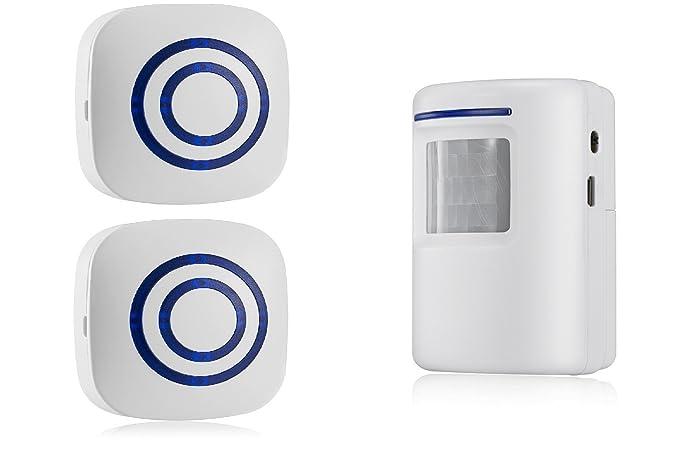 Alarma de seguridad, Domowin Timbre de Alarma Detector de presencia Portátil impermeable Avisador de Puerta 38 melodías (1 Sensor & 2 Receptor)
