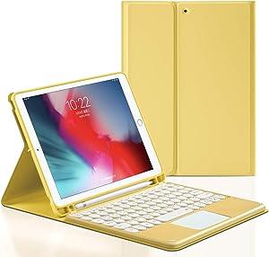 GUDOU iPad 10.5inch Bluetooth Touchpad Keyboard Case for 2019 iPad Air 3rd 10.5/2017 iPad Pro 10.5, Wireless Detachable iPad Keyboard Case with Pencil Holder,Auto Sleep/Wake (Yellow)