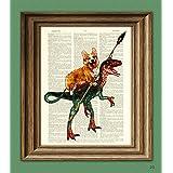 CollageOrama Cavedog the Corgi rides a Velociraptor Dinosaur dog original art vintage dictionary page book art print, 8.5 x 11 Inch