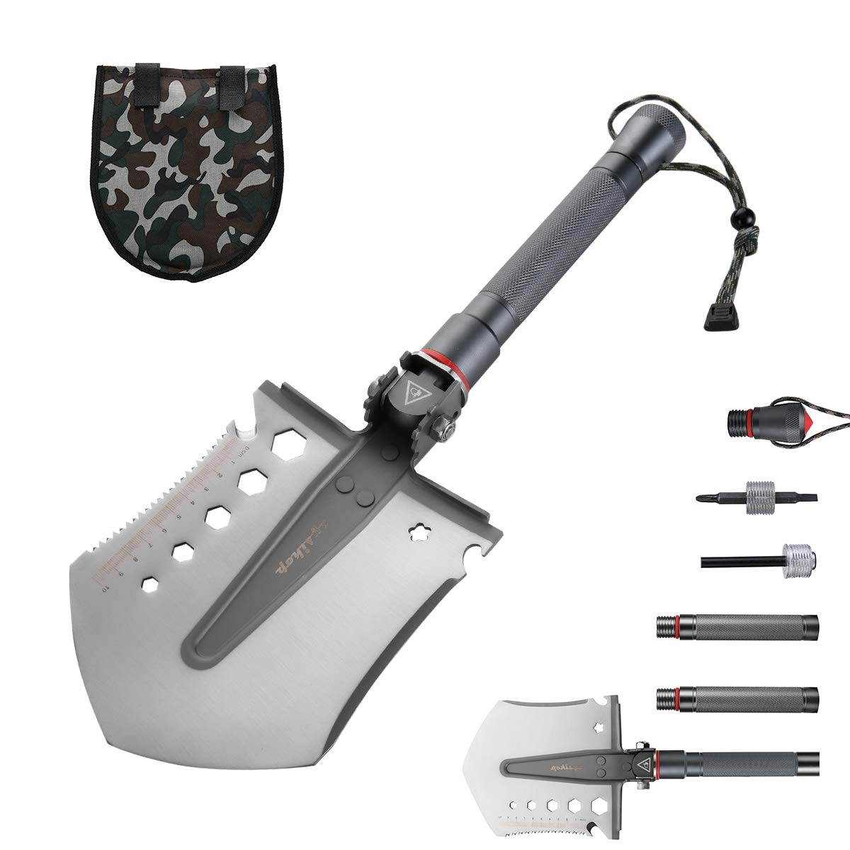 Cysikop Extended Military Folding Snow Shovel, Survival Entrenching Tool with Carrying Pouch Metal Handle for Hiking, Backpacking,Fishing,Car Emergency,Gardening etc.