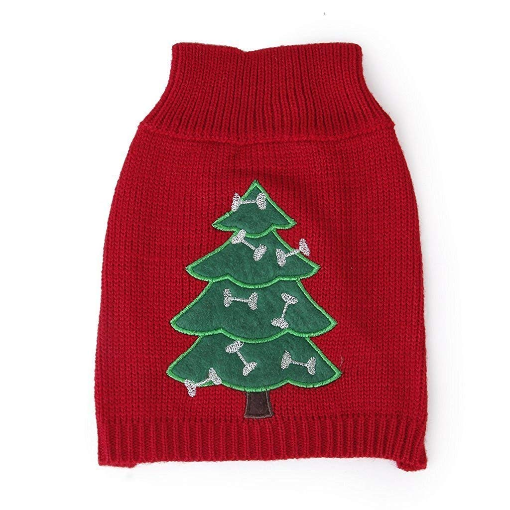 Yevison Puppy Small Dog Christmas Sweater Clothes Xmas Decro Tree Pattern S Durable and Useful