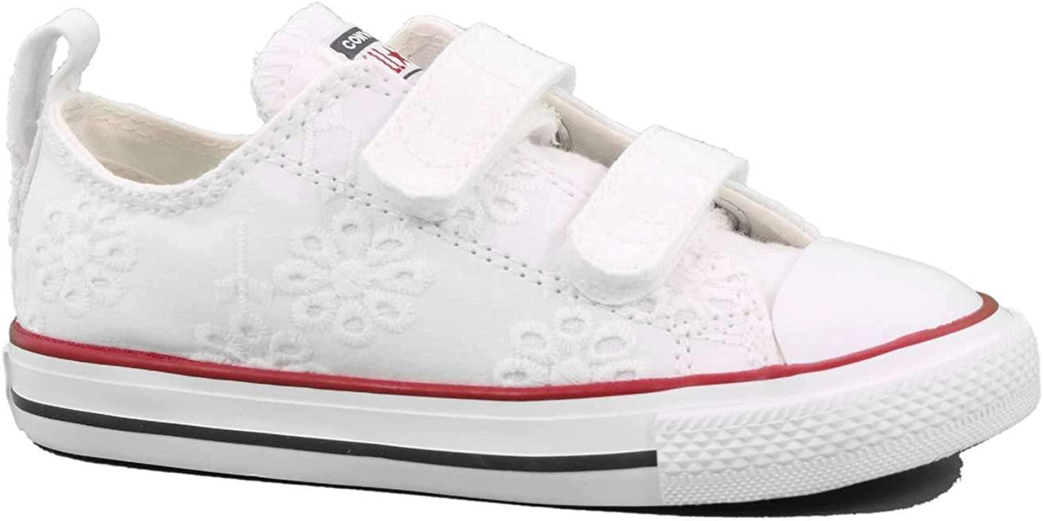 Converse Chuck Taylor All Star 2V Broaderie Anglias Ox BlancGrenat Textile Bébé Formateurs Chaussures