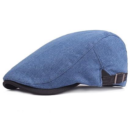 WY-Bufanda Gorras Vaqueras Retro Casual Primavera adelante. Sombrero Azul Oscuro 3 Sombrero de