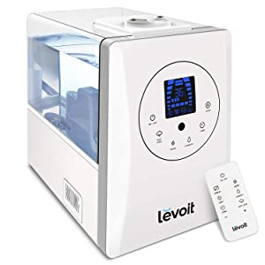 LEVOIT Humidifiers for Large Room, 6L Warm and Cool Mist Ultrasonic Humidifier for Bedroom and Babies, Vaporizer with Remote and Humidity Monitor, Home, Germ Free and Whisper-Quiet, 2-year Warranty