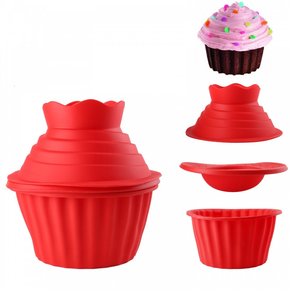 Generic Silicone Jumbo Giant Big Top Birthday Cupcake Cup Cake Mould Bake Baking Maker 3D Mold-79 3pcs DoTop