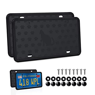 Mookis License Plate Frame, 2 PCS Black Auto License Plate Holder, Silicone License Plate Frame with Installation Screws and 9 Drainage Holes, Water-Proof, Rust-Proof, Weather & Rattle-Proof (Type 2): Automotive
