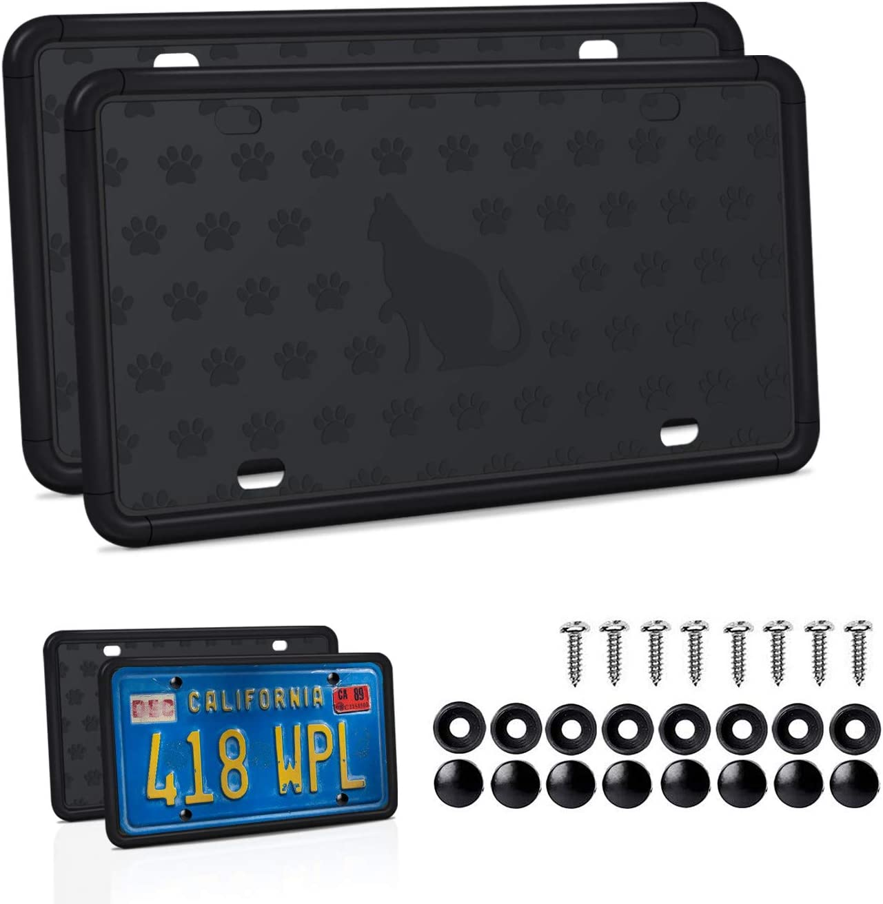 Mookis License Plate Frame Silicone License Plate Frame with Installation Screws and 9 Drainage Holes Type 2 Weather /& Rattle-Proof 2 PCS Black Auto License Plate Holder Water-Proof Rust-Proof