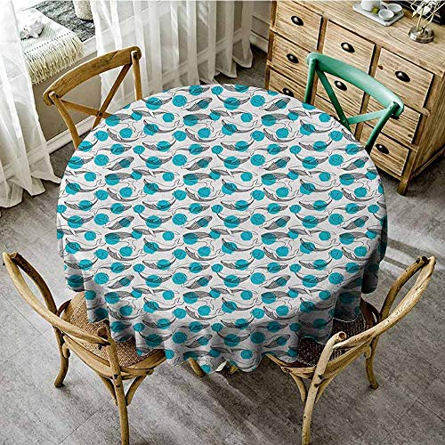 ScottDecor Picnic Cloth Whale Monochrome Animal Motifs on Background with Dots Giants of The Ocean Pale Sea Green Black White Banquet Round Tablecloth Diameter 50