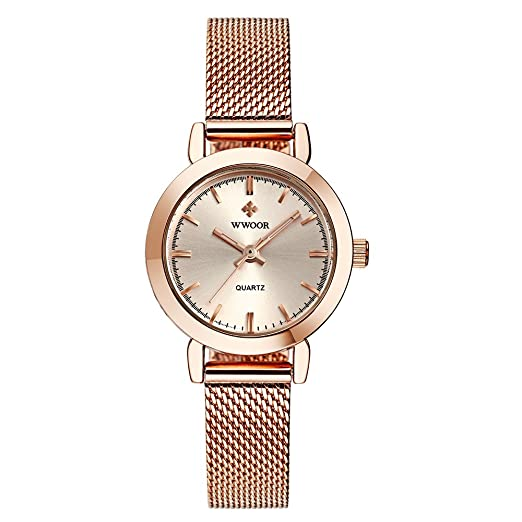 WWOOR Womens Watches Quartz Watch Ladies Wrist Watches for Women Stainless Steel Strap Rose Gold