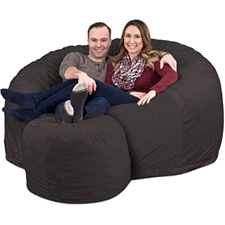 ULTIMATE SACK 6000 Bean Bag Chair w Footstool Giant Foam-Filled Furniture – Machine Washable Covers, Double Stitched Seams, Durable Inner Liner, and 100 Virgin Foam Footstool Incl. Grey, Suede