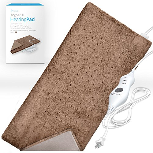 XL Heating Pad - Moist and Dry Electric Heating Pad with Ultra Fast Heat Technology for Back / Legs / Neck and Shoulders - Brown ( 12