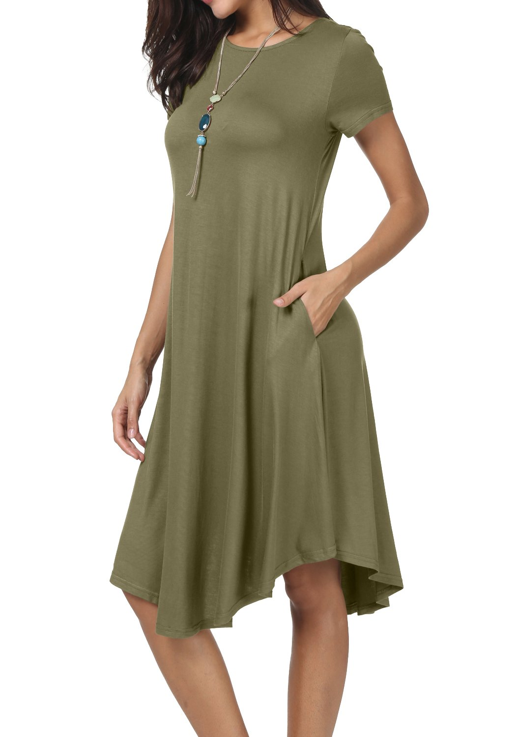 levaca Women Knit Draped Swing Loose Casual Tunic Knee Length Army Green L