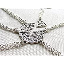 Pizza Necklace Silver Pepperoni Pizza Slice BFF Jewelry Best Friend Friendship Necklaces