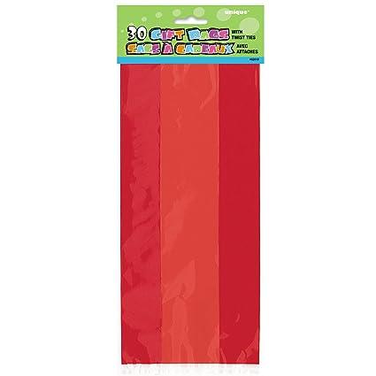 Unique Party- Paquete de 30 bolsas de regalo de celofán, Color rojo, 10 (62010)