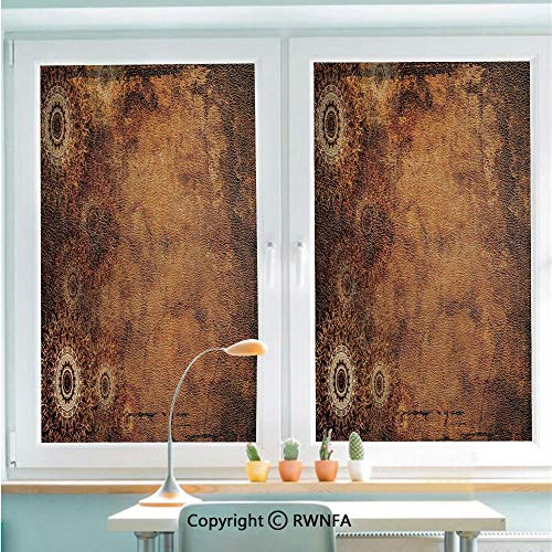 RWNFA Window Film No Glue Glass Sticker Aged Old Texture Print Artistic Floral Motifs Vintage Upholstery Concept Static Cling Privacy Decor for Kitchen Bathroom 22.8x35.4inches,Brown Light Brown Tan