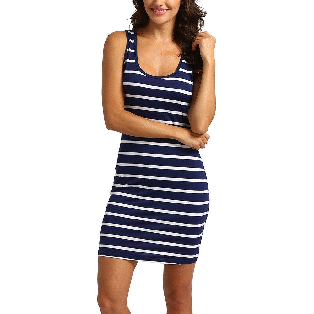 HIRIRI Women Strappy Bodycon Dresses Sleeveless Slim Dress Homewear Gowns O-Neck Striped Mini Skirt