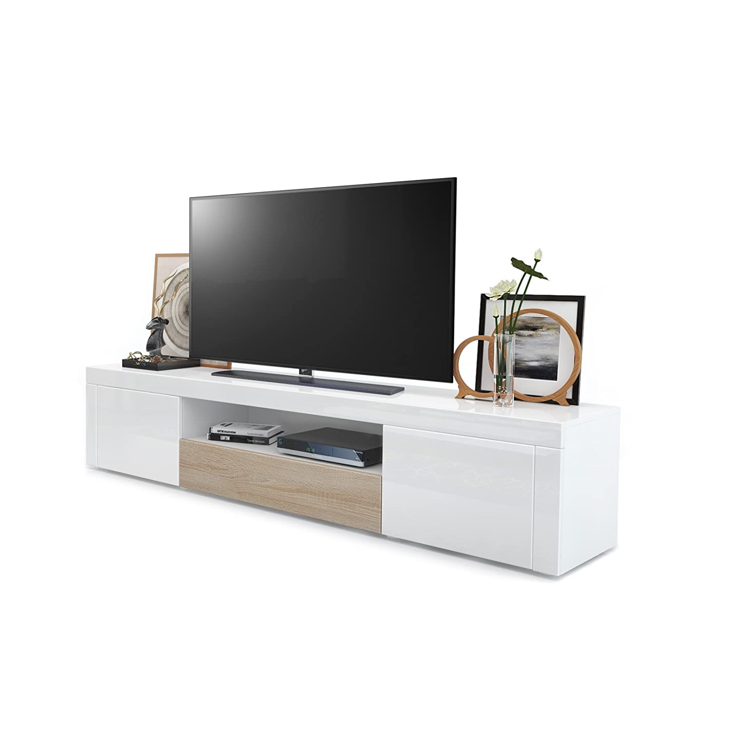 White High Gloss   Rough-sawn Oak without LED lighting Vladon TV Unit Stand Santiago, Carcass in White High Gloss Front in White High Gloss and Avola-Anthracite