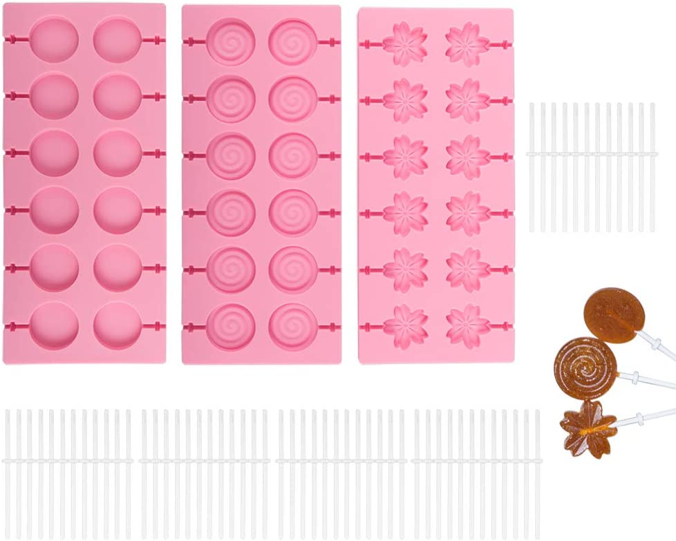 3 Pack Silicone Lollipop Molds,Sonku 12 Cavity Round Cherry Blossoms Swirl Chocolate Hard Candy Mold with 60 Pcs Sucker Sticks