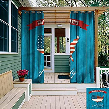 Image of AFGG Outdoor Curtain Panel for Patio,USA Map United States of America,Great for Living Rooms & Bedrooms,W108x108L