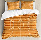 Boy's Room Queen Size Duvet Cover Set by Lunarable, Standard Floor Plan on Parquet Backdrop Basketball Court Playground Print, Decorative 3 Piece Bedding Set with 2 Pillow Shams, Pale Brown White