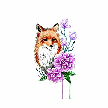 9ff33f5a9509a Amazon.com : WYUEN 5 Sheets Watercolor Fox Temporary Tattoo Waterproof Fake  Tattoo Sticker for Women Men Body Art 9.8X6cm FA-320 : Beauty