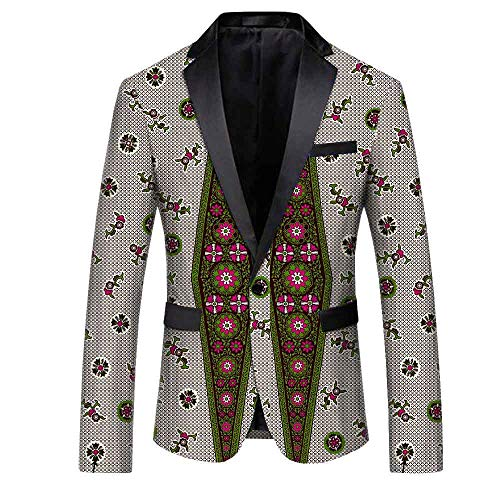- African Ankara Print Fashion Coat for Men Full Sleeves Single Button Jacket Batik Cotton Polyester Lining Material Made 300-3J M