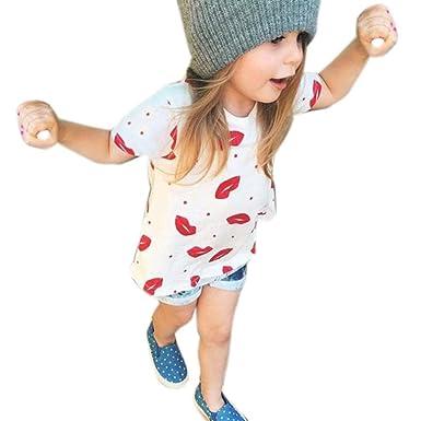 530282938c5e Fineser 2PCS Toddler Kids Baby Girls Summer Lips Print Short Sleeve T-Shirt  Tops+