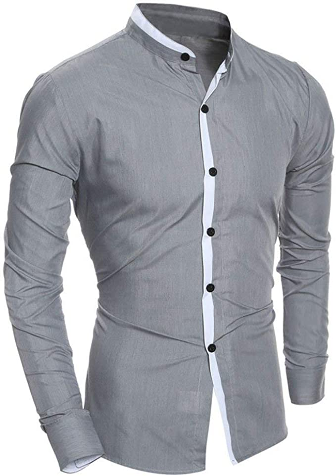 ZYFGfree Autumn Fashion Stitching Color Slim Fit Grey Color Long Sleeve Button Down Shirts For Men