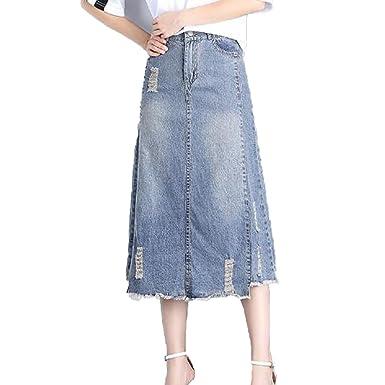 20bc5fb48b0949 Femmes Summer Cowboy Long Lady A-ligne Jupe Plus La Taille Denim ...