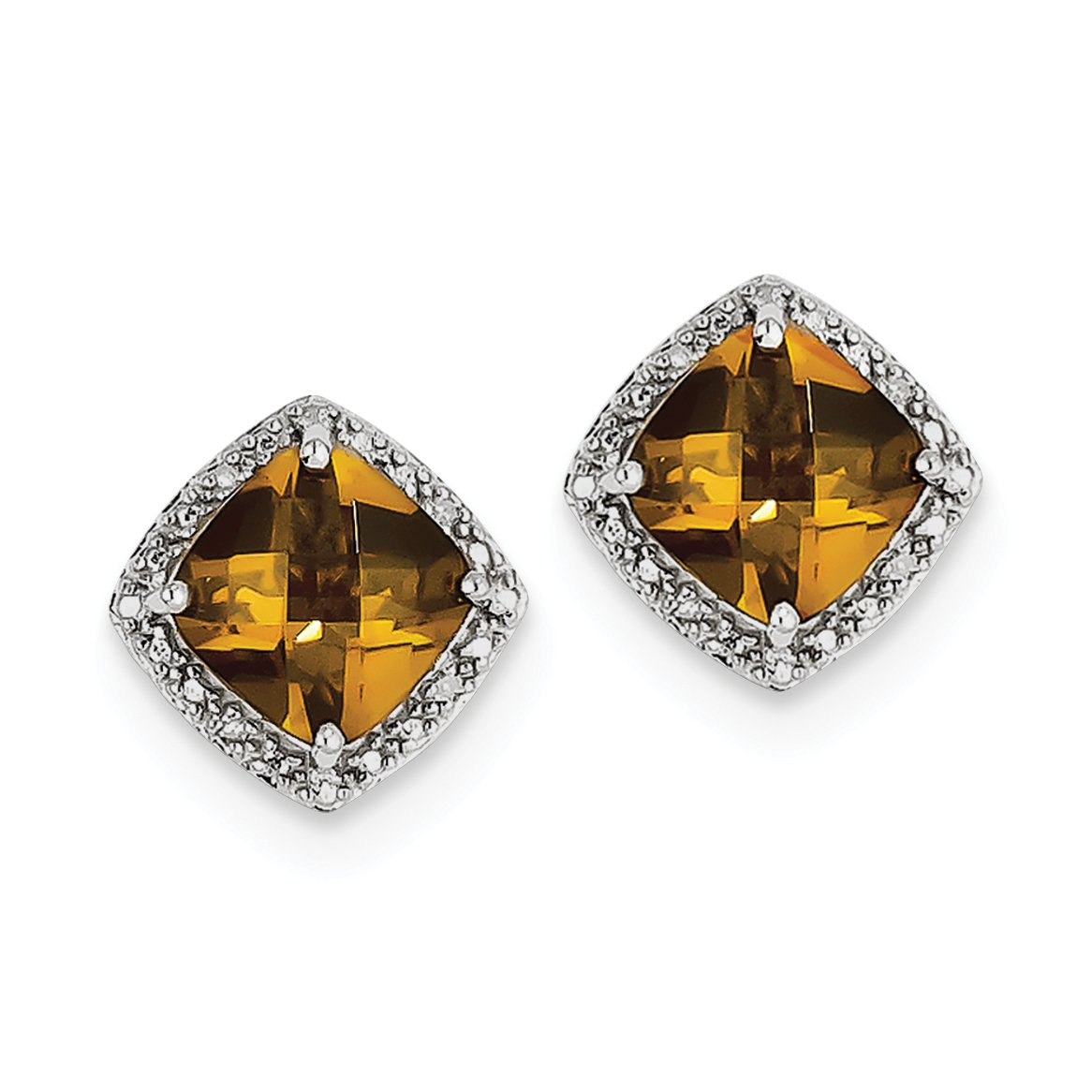 ICE CARATS 925 Sterling Silver Whiskey Quartz Diamond Post Stud Ball Button Earrings