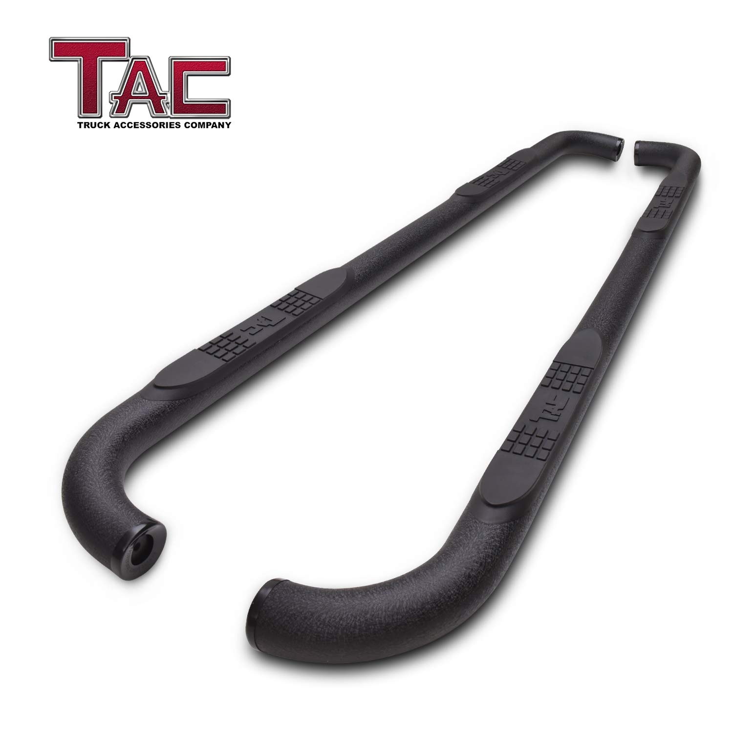 "TAC Side Steps Running Boards Fit 2009-2018 Dodge Ram 1500 Crew Cab (Incl. 2019 Ram 1500 Classic)/ 2010-2019 Dodge Ram 2500/3500/4500/5500 Crew Cab Truck Pickup 3"" Texture Black Side Bars Nerf Bars"