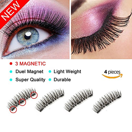 3 Magnet Eyelashes by LDMFET, 3D Fiber Reusable Long Lashes for Makeup, No Need Glue and Look Natural, Perfect Size For All Women Eyes (1 pair/4 pieces)