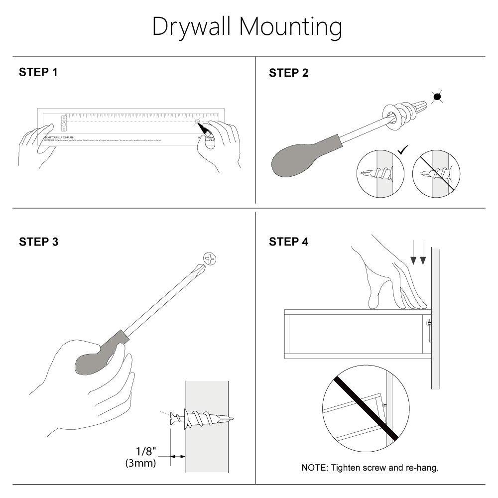 AHDECOR Floating Shelves White, Ledge Wall Shelf, Super Sturdy, Easy to Install (4 Inches Deep, Set of 2 pcs)