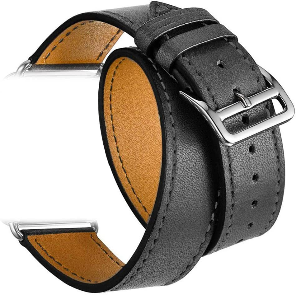 Valkit Compatible with Apple Watch Band 38mm 40mm 42mm 44mm, Double Tour Replacement Genuine Leather Strap Women Men Wristband for Apple Watch Series SE/6/5/4/3/2/1,Black