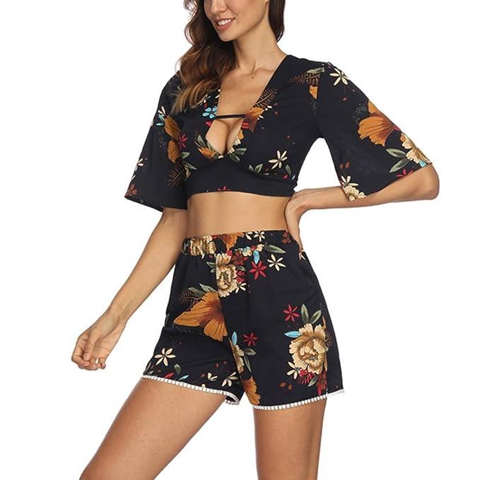 Blusa Estampada Mujer Verano, Covermason Blusa de Manga Corta para Mujer con Estampado de harina: Amazon.es: Ropa y accesorios