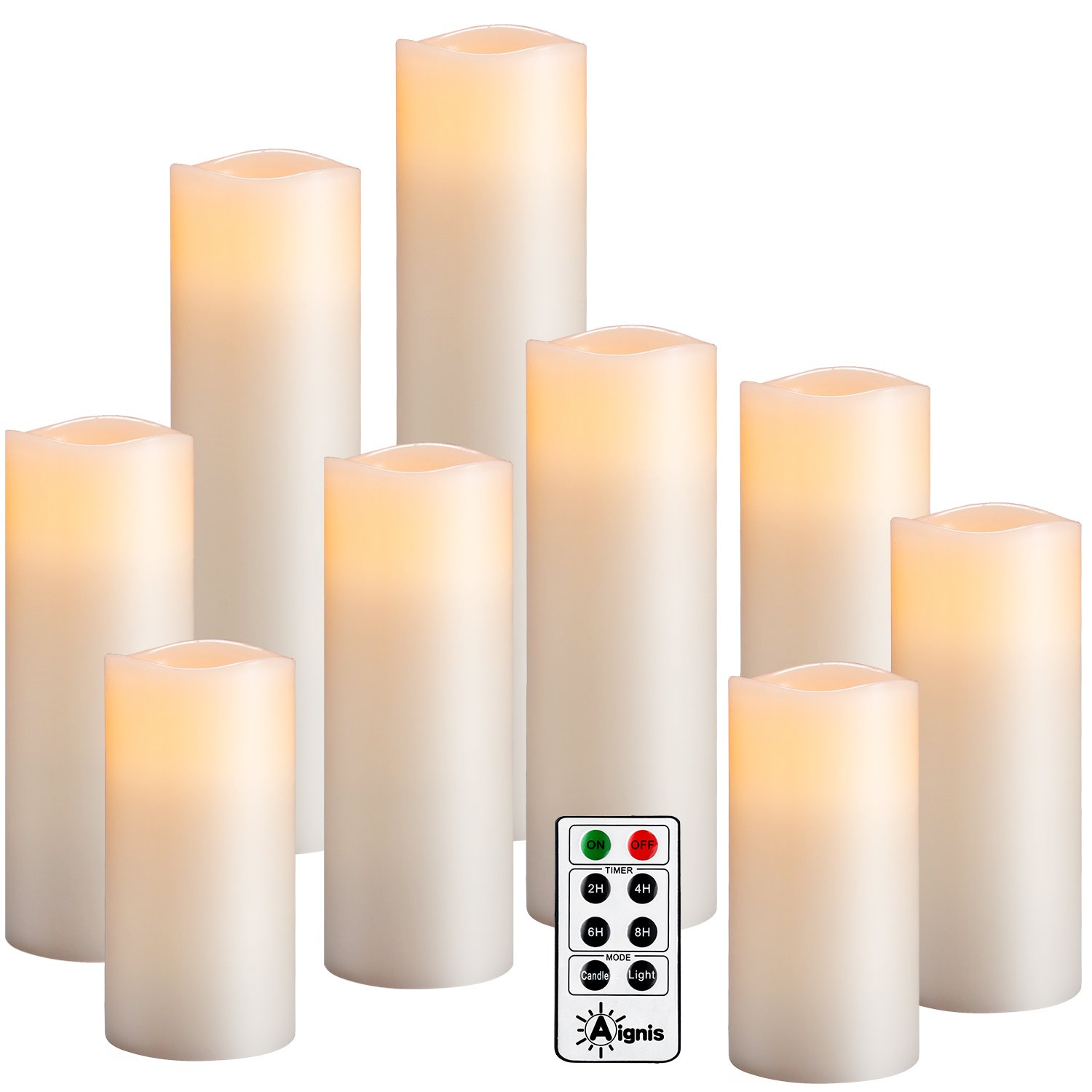 Flameless Candles ,Battery Operated Candles Set of 9(D2.2''xH4''5''6''7''8''9)Led pillar candles Include 10-key Remote Timer and Cycling 24 Hours Timer