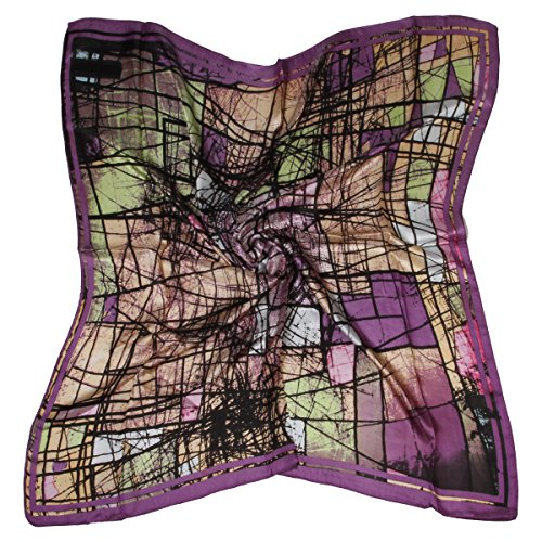Abstract Scarf (ETSYG 32'' Silk Scarf Women's Purple Abstract Pattern Large Square Satin Headscarf Headdress)