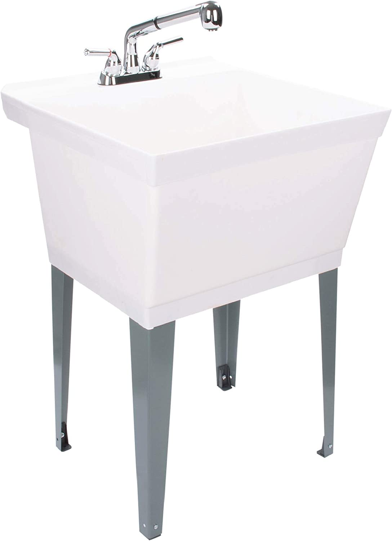 LDR Industries Black Garden Sink Laundry Tub Plastic Sink Chrome Garden Outdoor Sinks Station