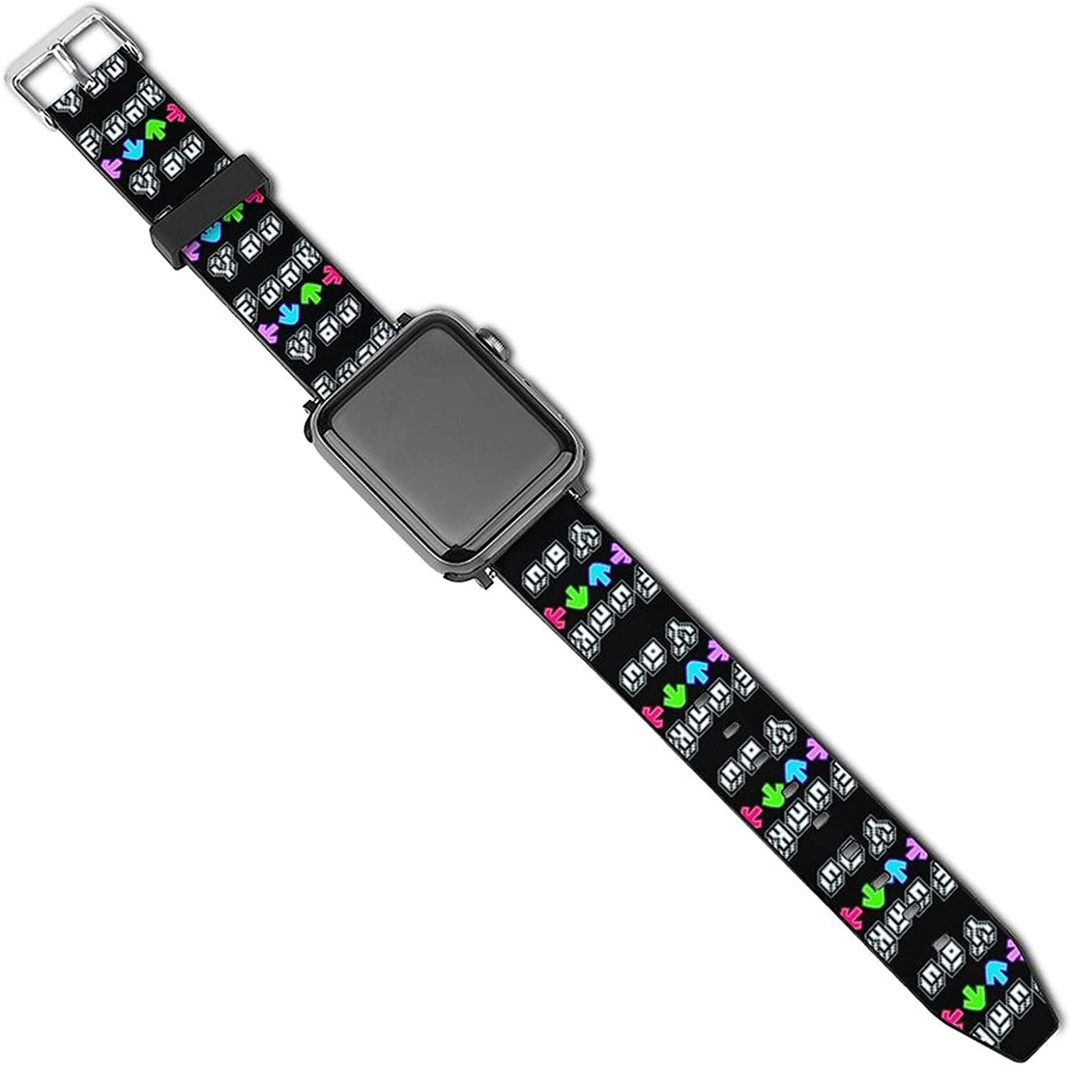 Friday Night Funkin Adjustable Anime Leather Strap Compatible for Apple Watch Replacement Wristband with iWatch Series 5 4 3 2 1 (42/44mm 38/40mm) for Boys Girls Men Women