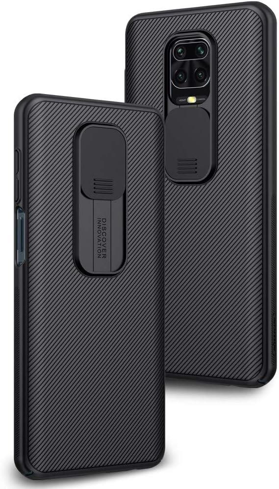 Funda para Xiaomi Redmi Note 9S Protección de la cámara Carcasa Cubierta de cámara Deslizante Proteger Ultra-Delgado Híbrida PC Anti-Choque Anti-arañazos - Negro