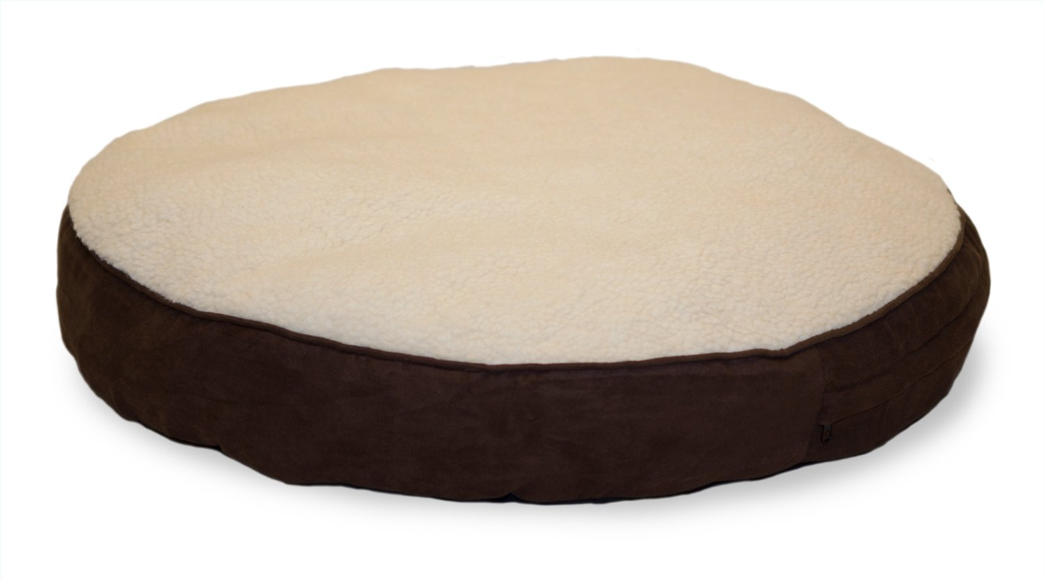 Espresso 26\ Espresso 26\ FurHaven Pet Dog Bed   Faux Sheepskin & Suede Round Pillow Pet Bed for Dogs & Cats, Espresso, 26-Inch