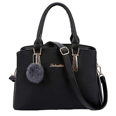 7e7bb66a1 Sonnena Women's Handbag Fashion Lychee Hanging Hair Ball Shoulder Messenger  Bag