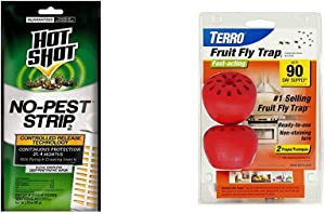 Hot Shot 100046114 No-Pest Strip, Pack of 1 & TERRO T2502 Fruit Fly Trap – 2 Traps