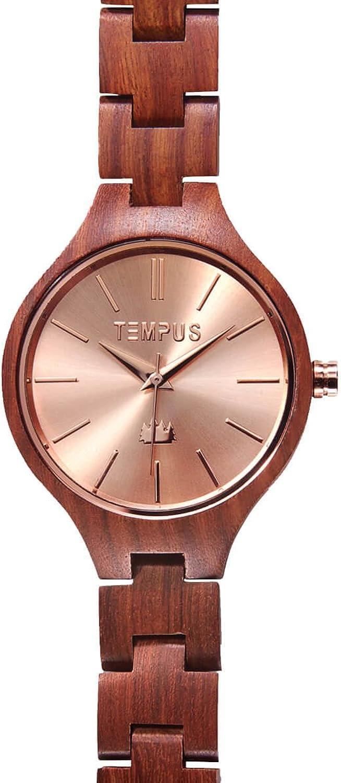 TEMPUS Elenor – Rose Gold Red Sandalwood Women s Wood Wooden Bracelet Watch Fashion – TWW-03
