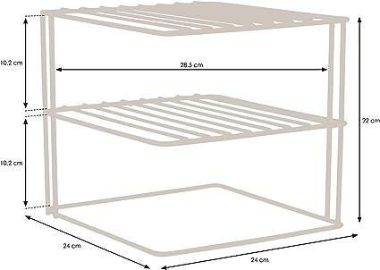 simplywire - Estantes para platos - Organizador de armarios de cocina - Diseño cuadrado de 3 niveles - Blanco: Amazon.es: Hogar