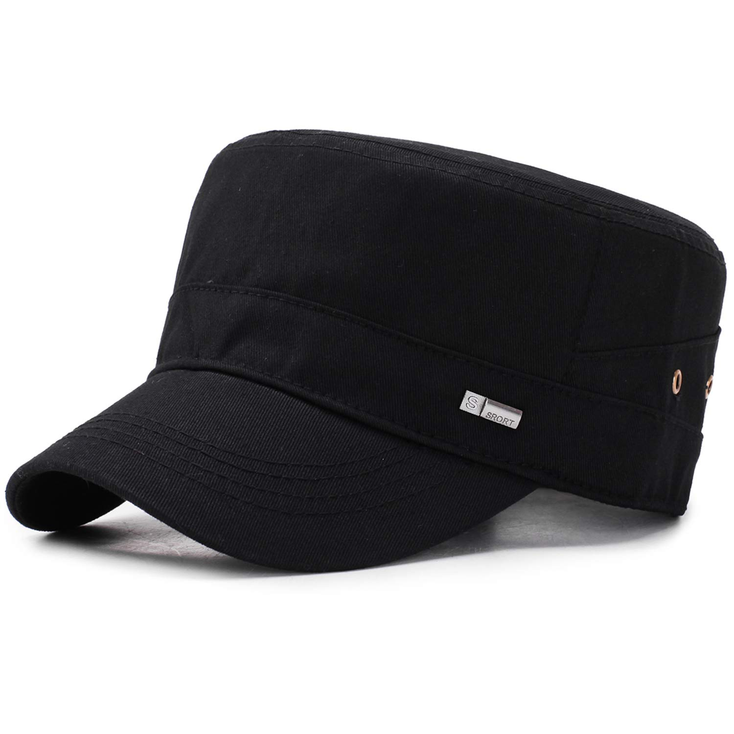WETOO Unisex Cotton Army Caps Womens Classical Military Hats Adjustable Flat Top Mens Cadet Hats Outdoor Casual Sun Visor Hat