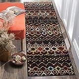 2'3 x 8' Black Red Southwest Runner Rug Rectangle, Indoor Brown Beige Southwestern Pattern Hallway Carpet Bohemian Geometric Entryway Tribal Native American Patterns Cabin Entrance Way, Polypropylene