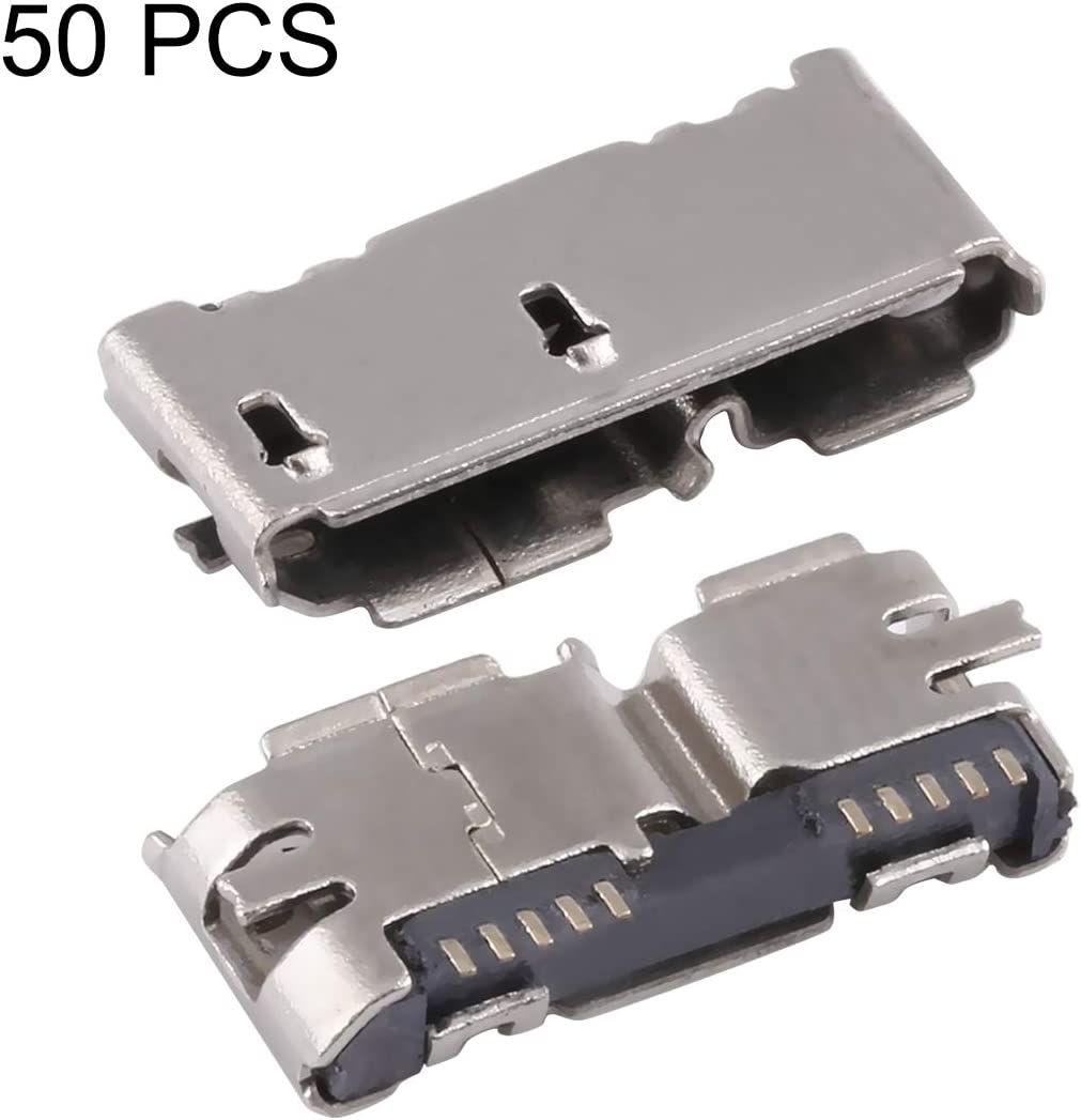 HEGWEI 50 PCS Micro USB 3.0 10P//F Fixed Foot Full Patch with H Band Edge