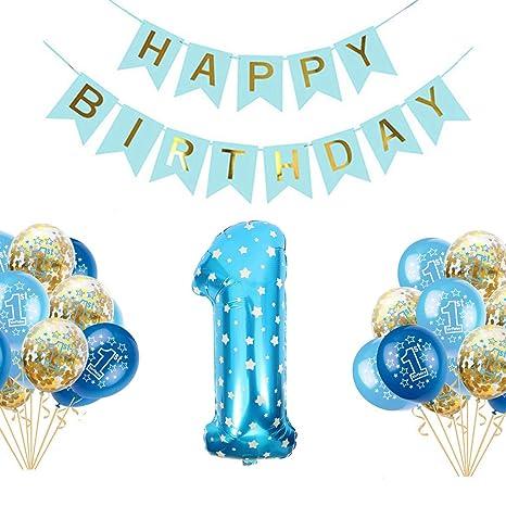 Juego de Globos para Fiesta de Primer cumpleaños para niños Feliz cumpleaños Suministros para niño bebé para niño o niña Cumpleaños Deco Niños Niños 1 ...